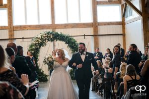 Bride and groom processional.