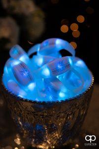 LED bracelets for a wedding reception.