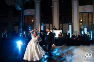 Bride and groom dancing on a cloud at Bleckley Station.
