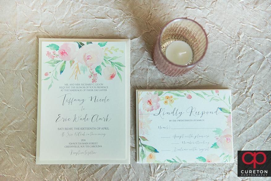 Wedding invitations to a Zen wedding.