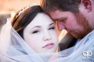 Close up of bride and groom.