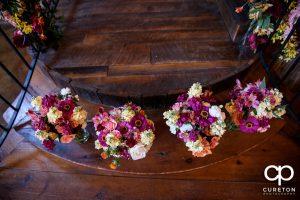 Bridesmaids bouquets.