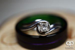 Closeup of wedding rings.