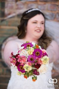 Bride and her bouquet .