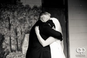 Bride and father first look.