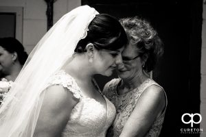 Bride and her mom at the church before the ceremony.