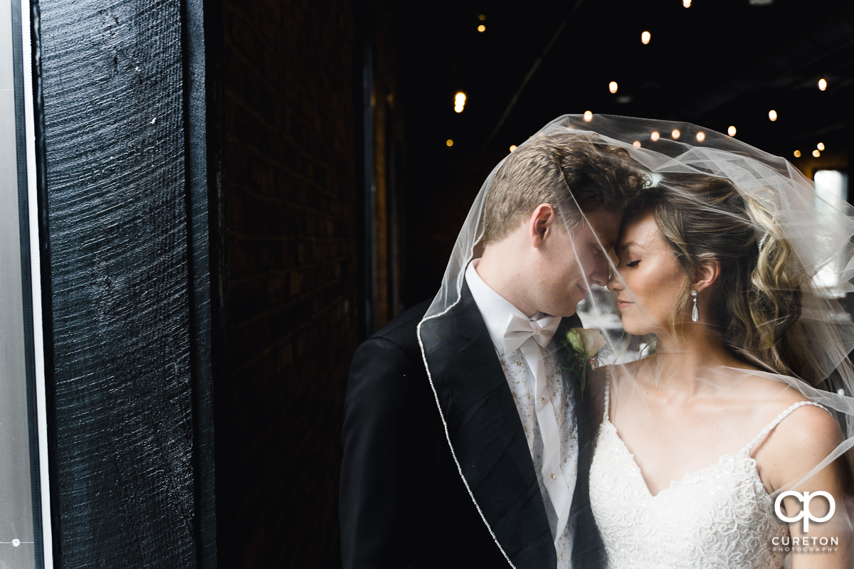 Bride and groom with a veil over their faces at The Rutherford wedding venue in Greenville,SC.
