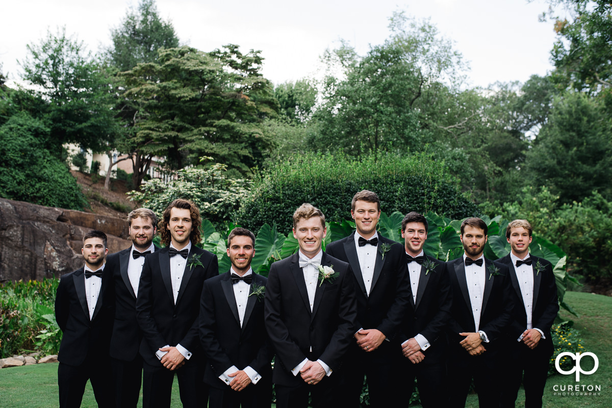 Groomsmen at the Rock Quarry Garden.