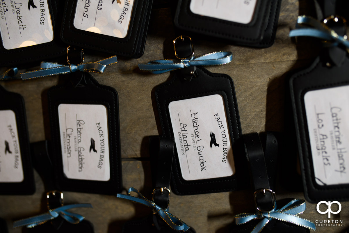 Luggage tag place cards.