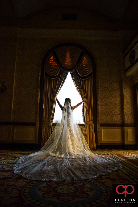 Bridal session photo in a window at the Westin Poinsett.