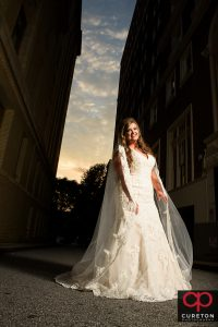 Bride standing outside the Westin.
