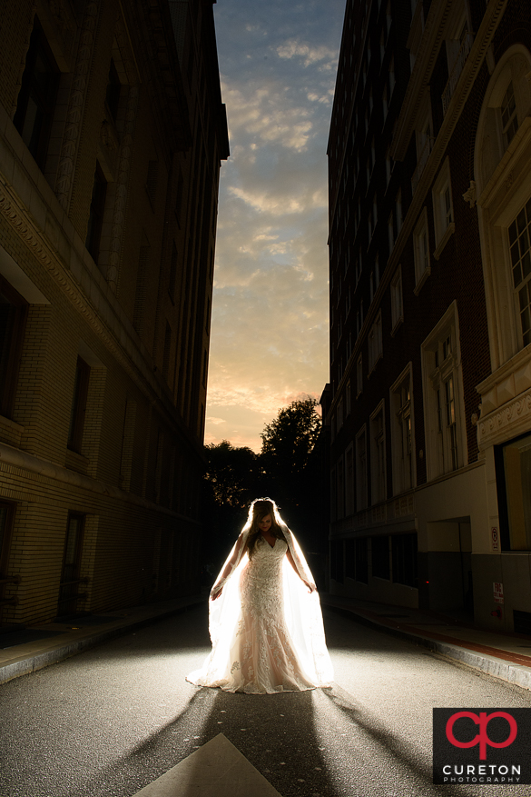 Bride outside the Westin Poinsett in downtown Greenville during a sunset bridal session.