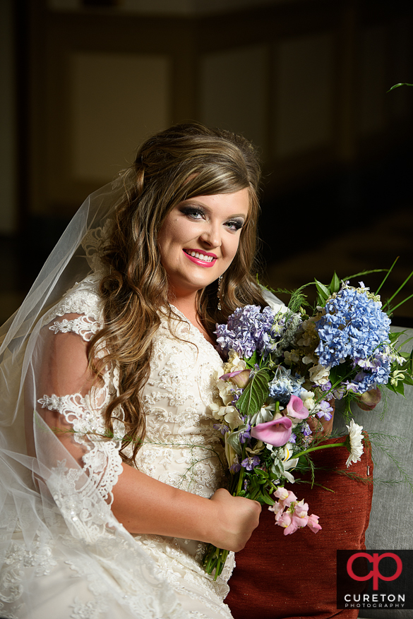Bride with flowers.