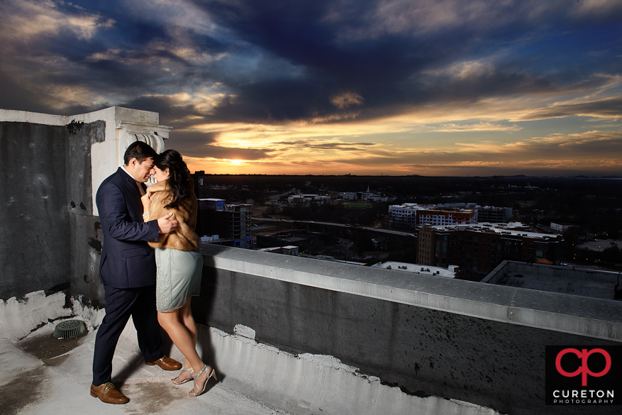 Rooftop sunset in downtown Greenville.