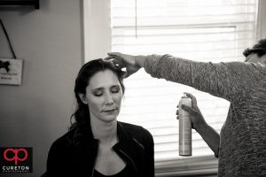 Bride getting ready for her wedding in Greenville South Carolina.
