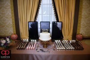 Dessert display at the Westin Poinsett wedding.