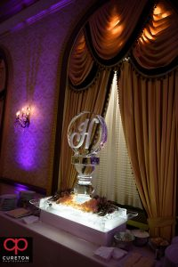 Beautiful ice sculpture at the wedding reception.