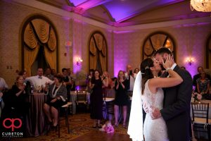 Epic first dance in the gold room at the Westin Poinsett wedding reception.