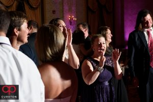 Guests dancing to the sounds of the Greenville SC wedding band The Erica Berg Collective at the Westin Poinsett reception.