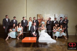 Creative wedding party shot in the lounge at Zen in downtown Greenville,SC.