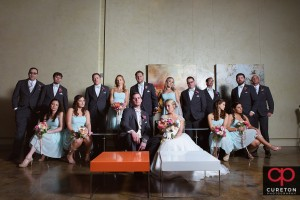 Creative vanity fairish wedding party shot in the lounge at Zen in downtown Greenville,SC.