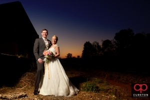 Bride and groom at sunset after their Zen wedding in Greenville,SC.
